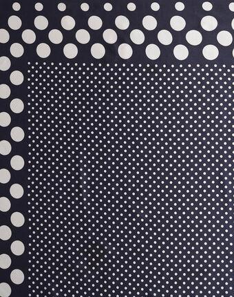 Aloise printed polka polka dot blue silk square scarf navy.