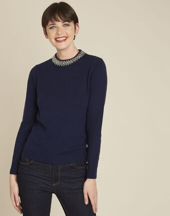 Bulle navy wool mix pullover with jewel collar royal blue.