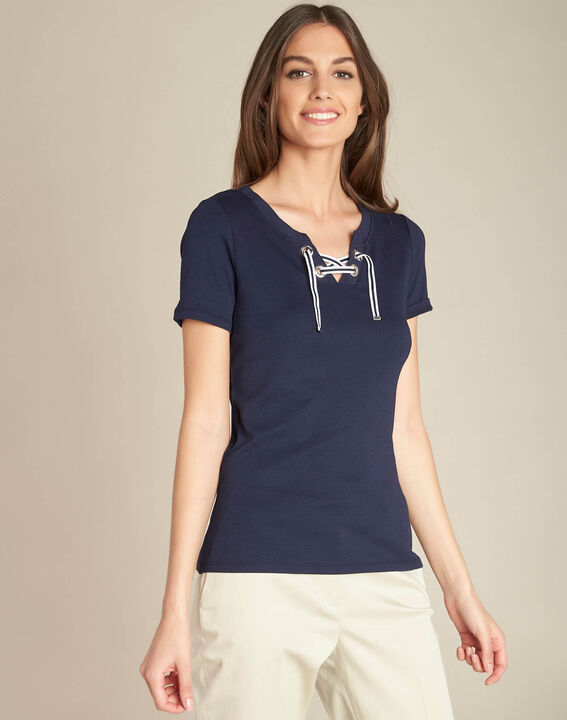 Evidence navy blue T-shirt with eyelets on the neckline (3) - 1-2-3