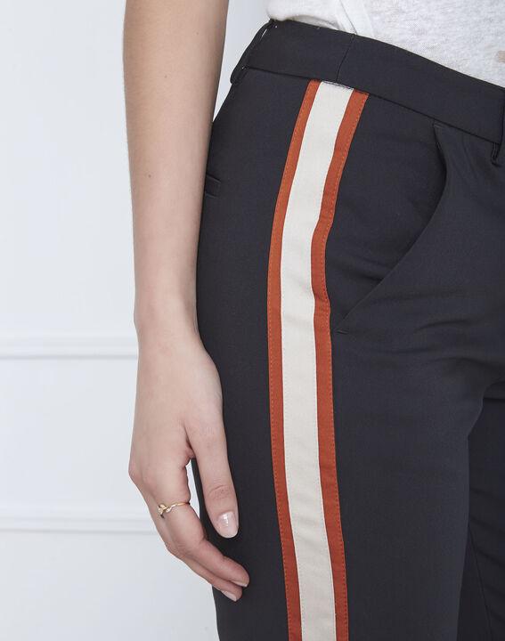 Pantalon noir bande latérale acajou Golden (4) - Maison 123