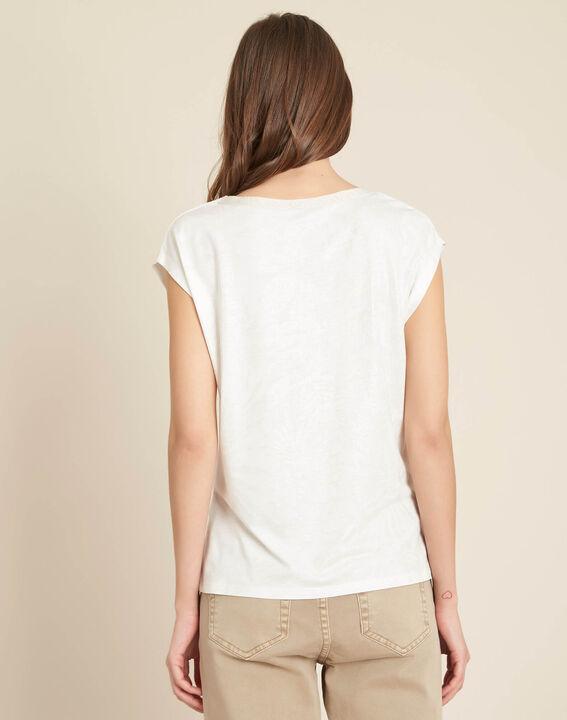 Enight V-neck sparkly ecru T-shirt (4) - 1-2-3