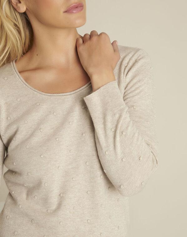 Beige trui met ronde kraag van gemengd wol Beebop (2) - 37653