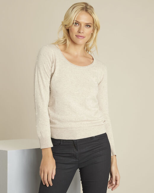 Beebop beige crew neck wool mix pullover (2) - 1-2-3