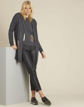 Pull gris laine cachemire poche faux cuir baltic anthracite.