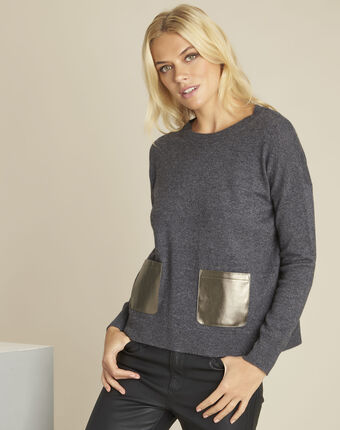 Baltic grey wool cashmere pullover with faux leather pocket dark grey.