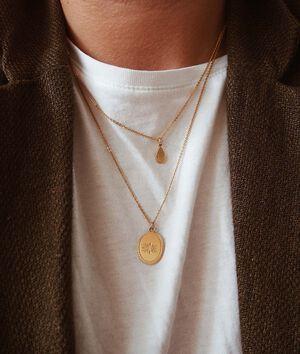 Collier médaille fleurs or Bijoux Léone