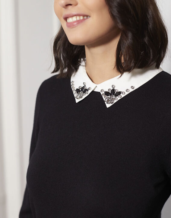 Beads black jewelled pullover with shirt-style collar (3) - Maison 123