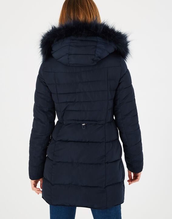 Lisa mid-length navy blue puffer jacket with faux fur (4) - 1-2-3