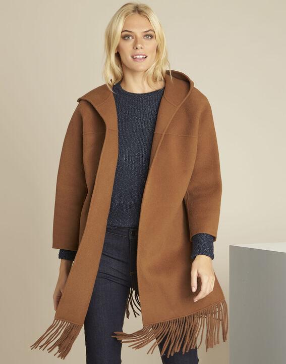 Camelfarbener Mantel mit Fransen aus Wollgemisch Elisa PhotoZ | 1-2-3