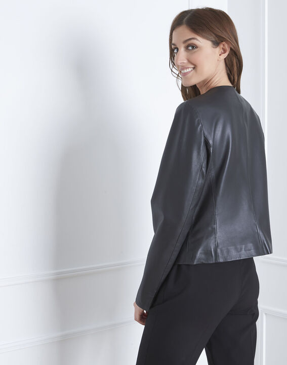Veste noir cuir velours Charme (4) - 1-2-3