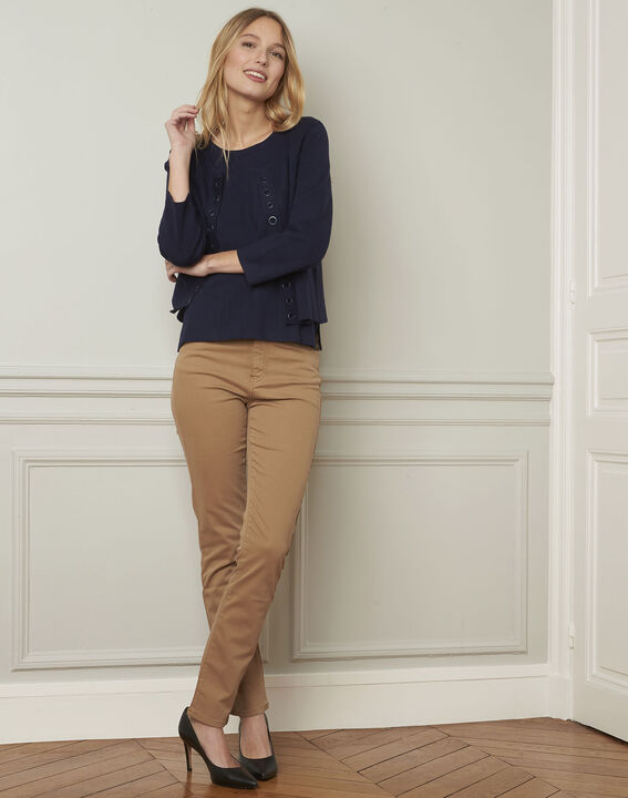 Pull marine compact oeillets Abricot (2) - Maison 123