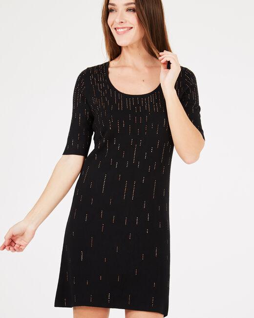 Schwarzes Kleid mit goldenem Strass Princesse (1) - 1-2-3