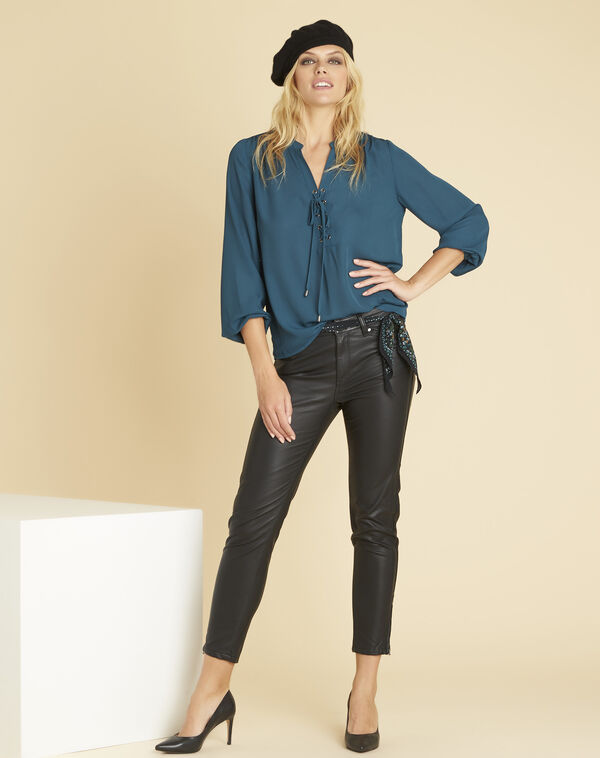 Cheryl emerald blouse with lacing and eyelets on the neckline (2) - 1-2-3