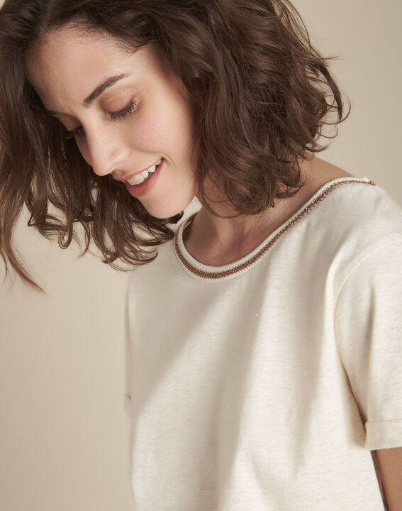 Tee-shirt beige en lurex Clara PhotoZ | 1-2-3