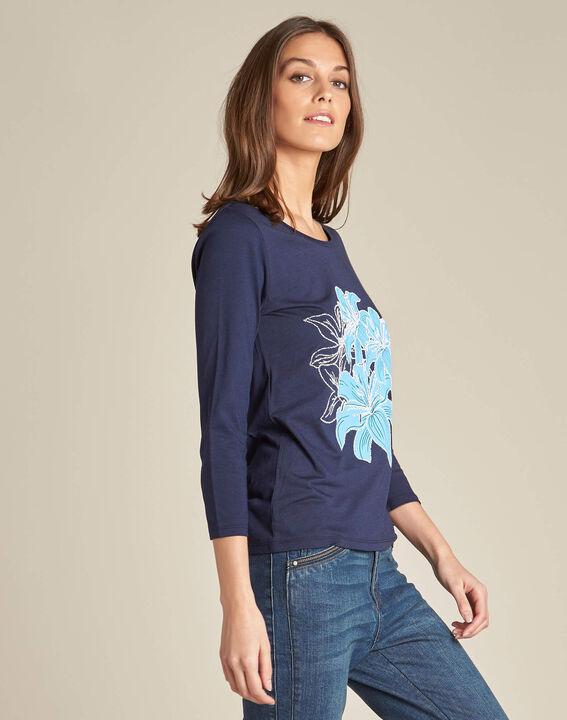 Marineblauw T-shirt met bloemenprint Enoopsy (3) - 37653