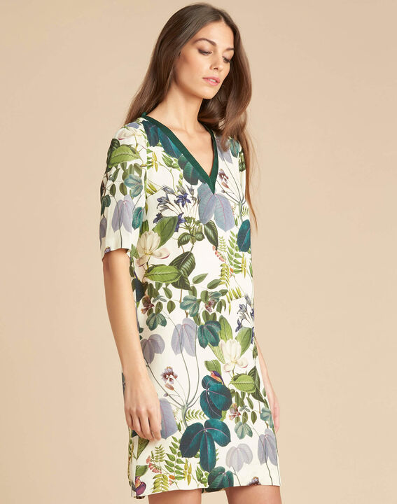 Perline forest green dress with print (3) - 1-2-3