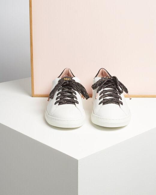 Baskets blanches sérigraphie dorée en cuir Kennedy (1) - 1-2-3