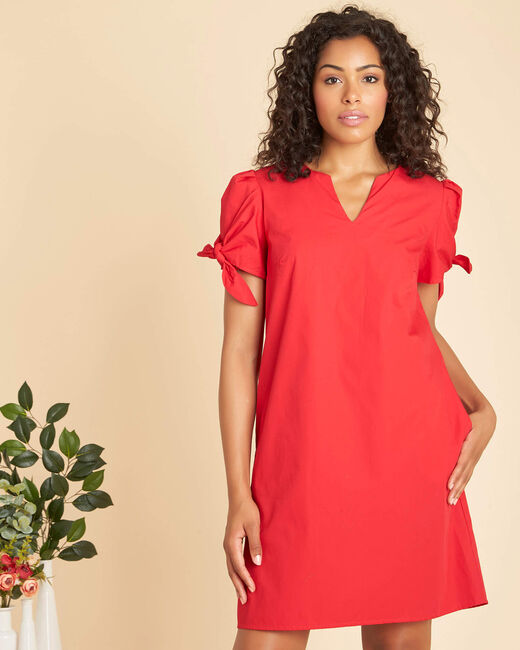 Robe rouge en coton manches fantaisies Pop (2) - 1-2-3