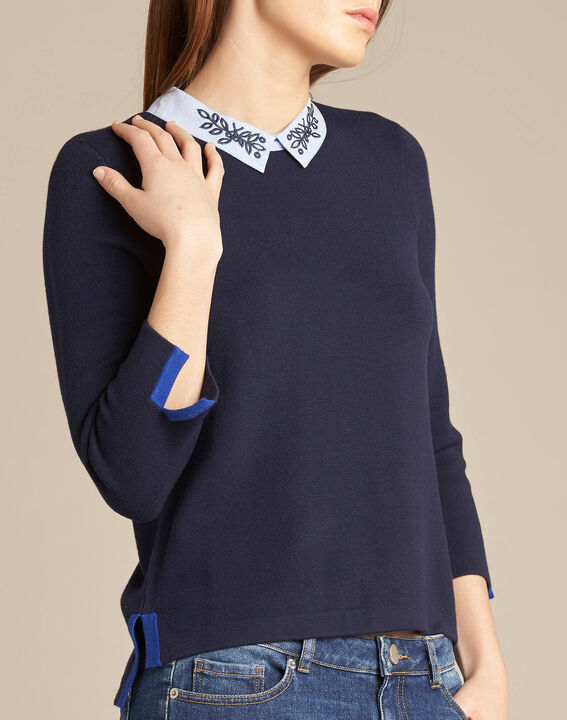 Noémie navy blue sweater with shirt collar PhotoZ | 1-2-3