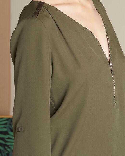Galia khaki blouse with zipped neckline (2) - 1-2-3
