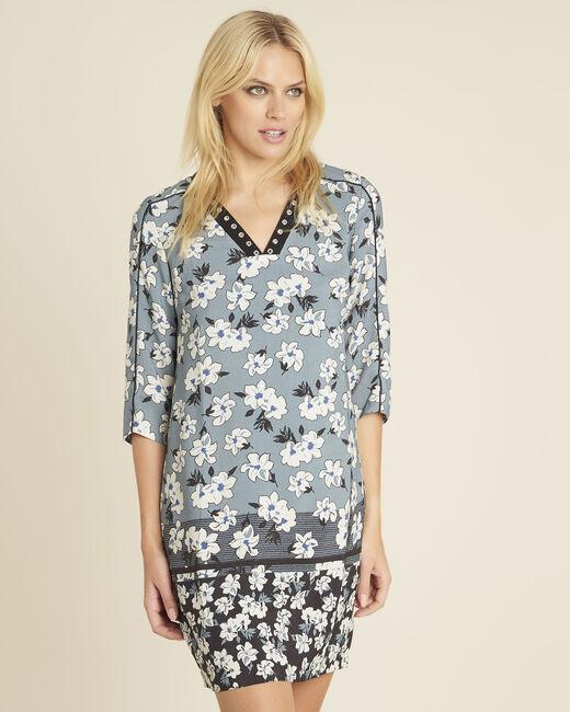 Blauwe jurk met print en fantasiehals Diam (2) - 37653