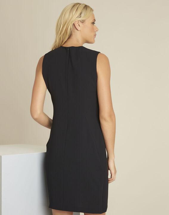 Zwarte strakke jurk van crêpe Dream (4) - 37653