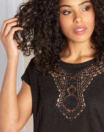 Elise black linen t-shirt with lace detailing black.