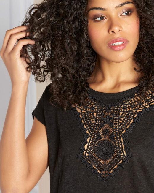 Tee-shirt noir en lin à détail dentelle Elise (1) - 1-2-3