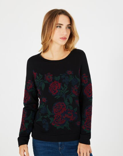 Sweat noir broderies roses Benny (2) - 1-2-3
