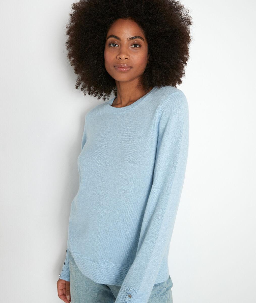 Hemelsblauwe klassieke trui van gerecycled kasjmier Tim PhotoZ   1-2-3
