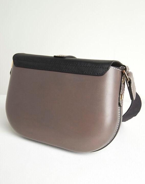 Doris two-tone pale grey leather shoulder bag (5) - 1-2-3