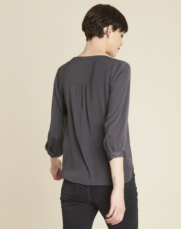 Cassy charcoal blouse with decorative neckline (2) - 1-2-3