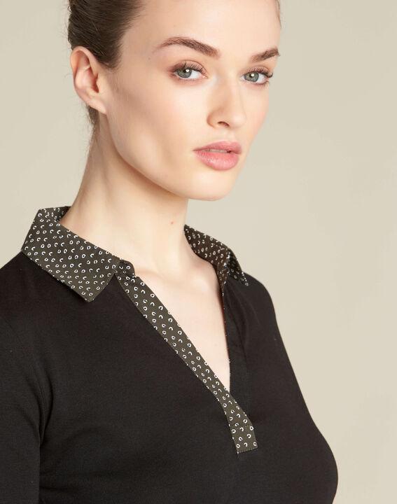 T-shirt noir col chemisier contrasté Bowling PhotoZ | 1-2-3