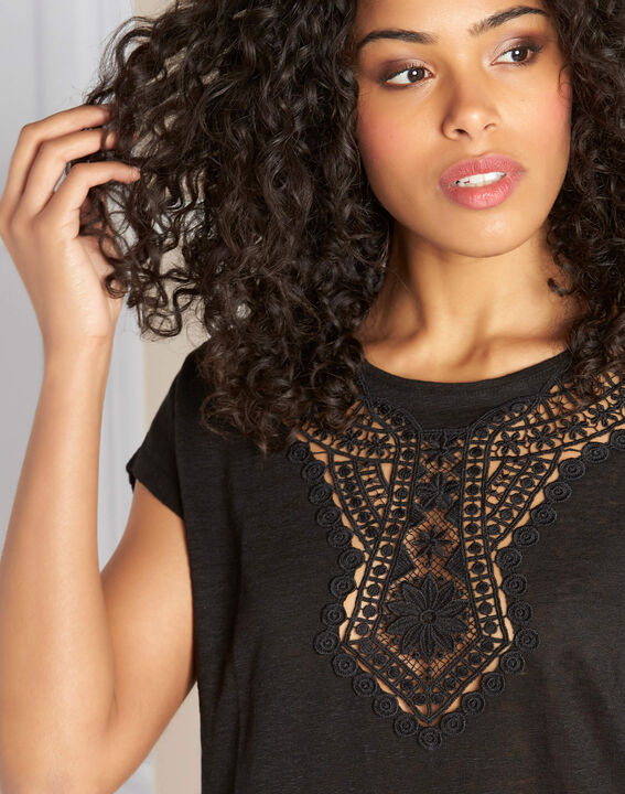 Elise black linen T-Shirt with lace detailing PhotoZ | 1-2-3