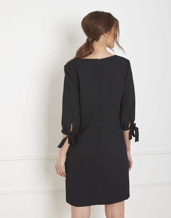 Robe noire crêpe noeuds manches Loumia (3) - Maison 123