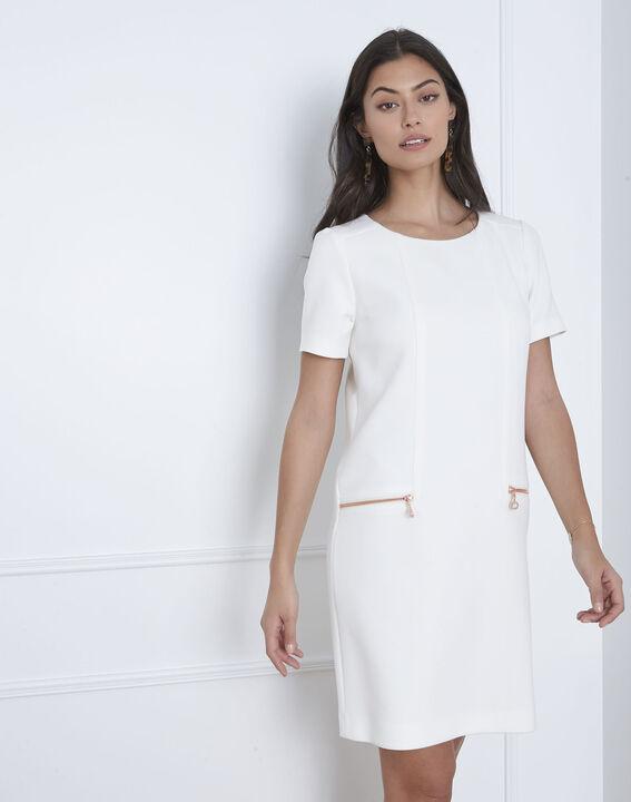 Robe blanche droite zips poches Legende (2) - Maison 123