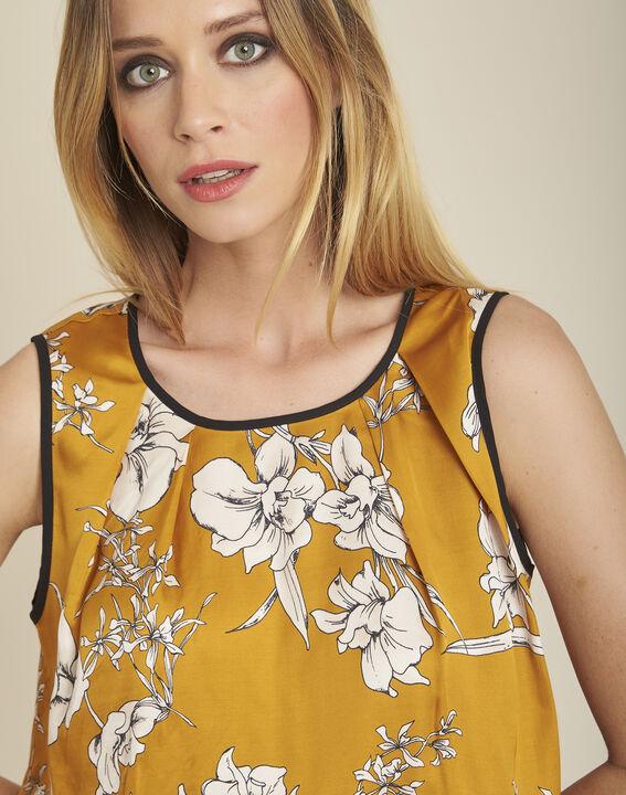 Gelbe Bluse mit Blumenprint und Schleife am Rücken Canette (3) - 1-2-3