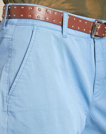 Francis light indigo cotton 7/8 length trousers light indigo.
