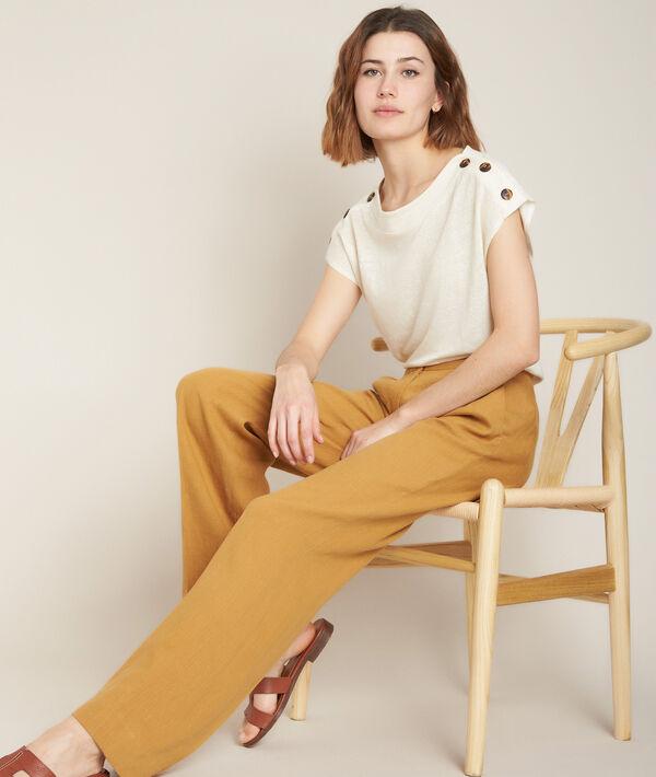 Pantalon large en lin ocre Galaxy PhotoZ | 1-2-3