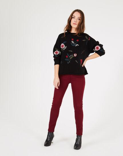 Schwarzer Pullover mit Blumenstickereien Pia (1) - 1-2-3