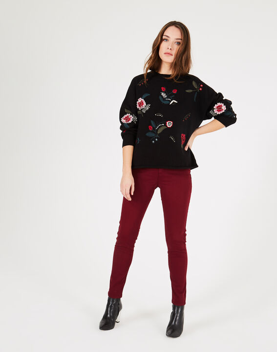 Pia black floral embroidered sweater PhotoZ | 1-2-3