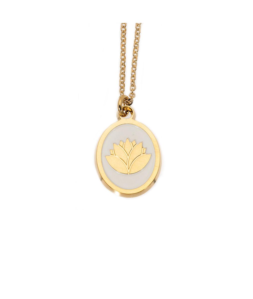 Collier médaille laqué lotus ivoire or Bijoux Léone PhotoZ | 1-2-3