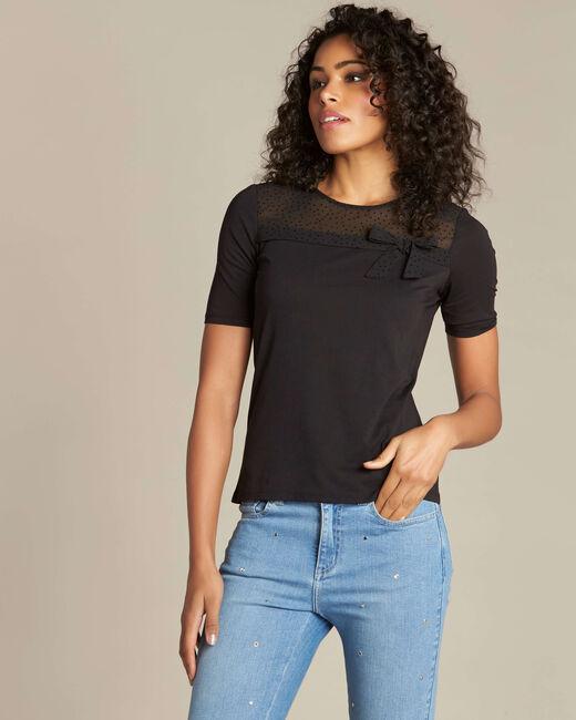 Schwarzes T-Shirt mit Schleife Elouisa (2) - 1-2-3
