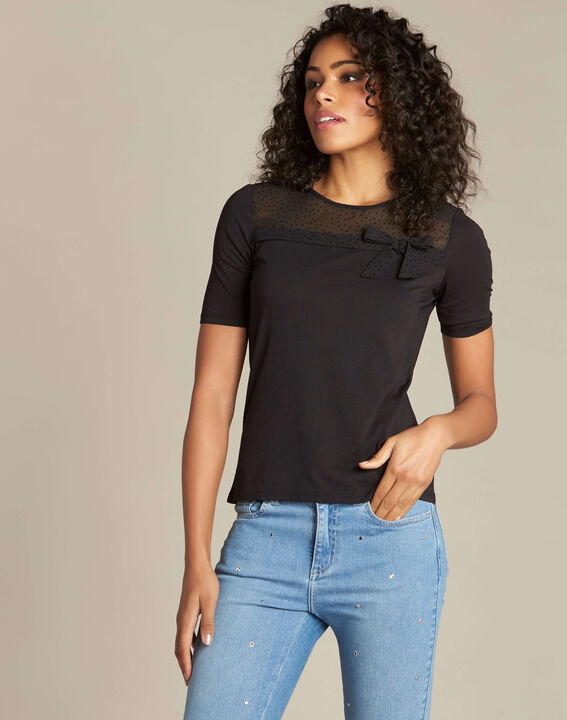 Elouise black T-shirt with bow (3) - 1-2-3