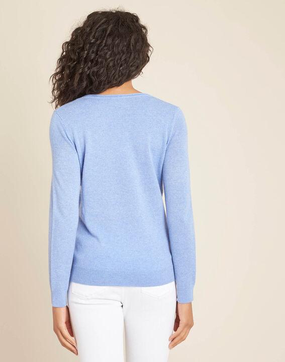 Pivoine blue V-neck sweater in cashmere (4) - 1-2-3