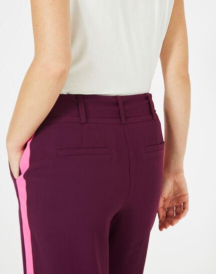 Pantalon cassis fluide bande côté Kamelia (4) - 1-2-3