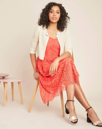 Ibiscus coral mid-length dress in lace coral.