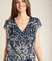 Pauline navy blue floral printed dress with belt PhotoZ | 1-2-3