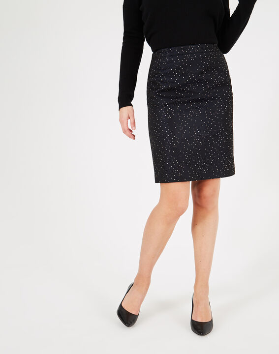 Folie navy blue straight-cut skirt with constellations (4) - 1-2-3