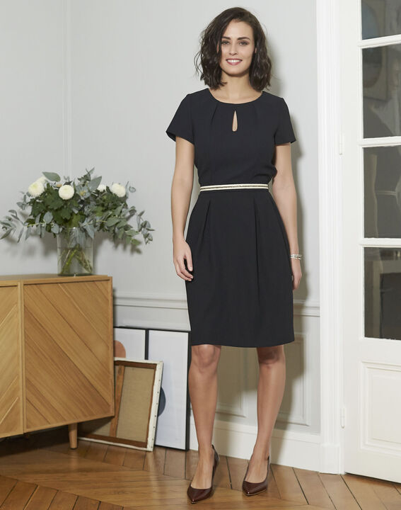 Natalia Straight Black Dress (2) - 1-2-3